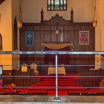 metal cable railing barrier inside a church